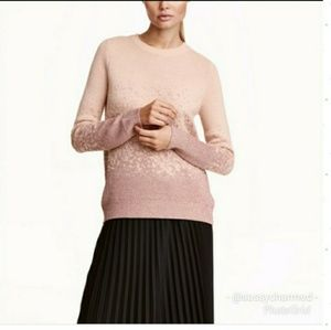 H&M Powder Pink Glitter Metallic Sweater